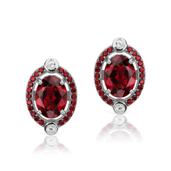 Pyrope garnet and White Topaz Stud Earrings, Sterling Silver