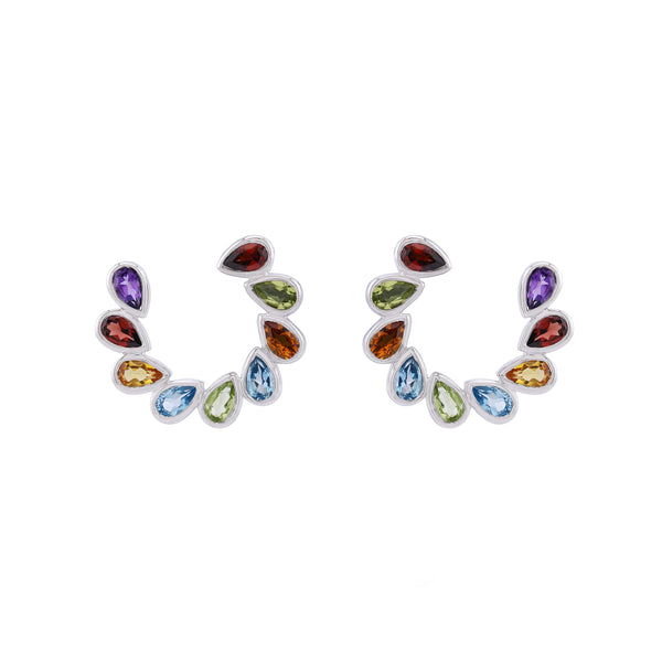 Rainbow Gemstone Front Hoop Earrings, Sterling Silver