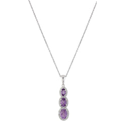 Brazilian Amethyst Graduated Triple Drop Pendant with Chain, Sterling Silver