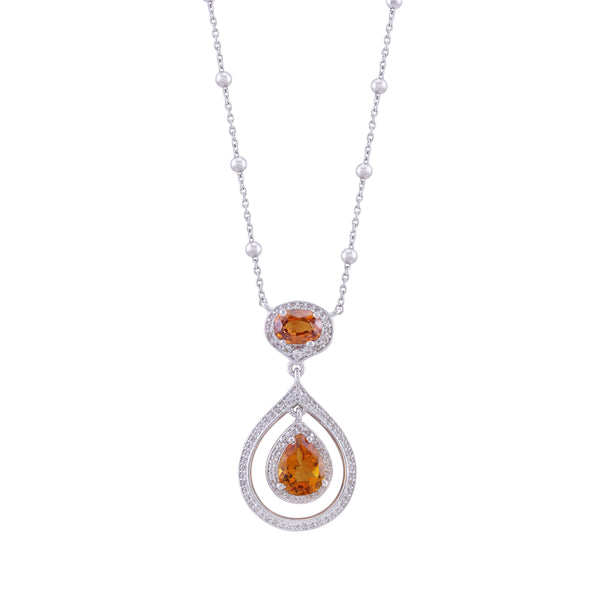 Madeira Citrine, Orange Zircon and White Topaz Dramatic Drop Pendant with Chain, Sterling Silver