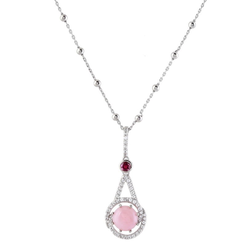 Angel Skin Pink Coral, Rhodolite and White Topaz Pendant with Chain, Sterling Silver