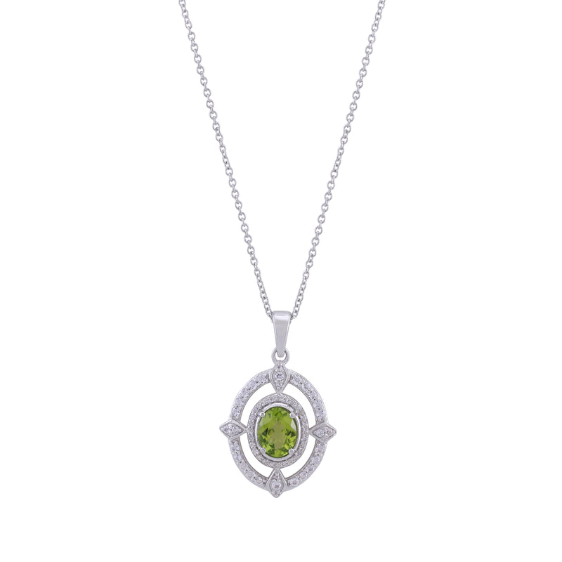 Arizona Peridot and White Topaz Framed Pendant with Chain, Sterling Silver