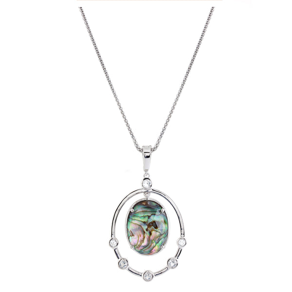 Oval Abalone Doublet Framed Pendant with Chain, Sterling Silver