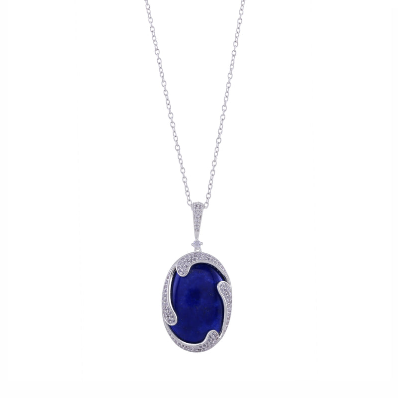 Lapis and White Topaz Wave Pendant with Chain, Sterling Silver