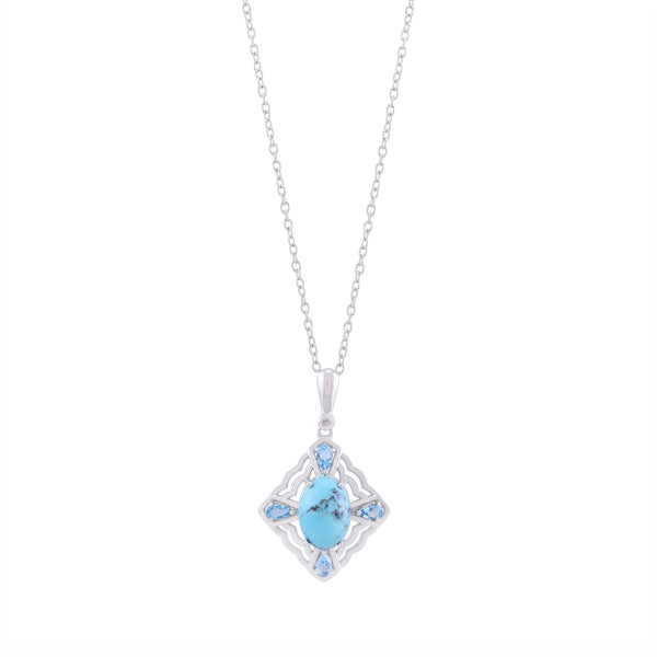 Kingman Turquoise, Swiss Blue Topaz and White Topaz Framed Pendant with Chain, Sterling Silver