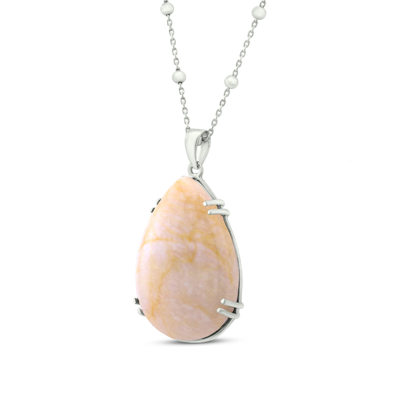 Sterling Silver Pendant Necklace with Galaxy Quartz
