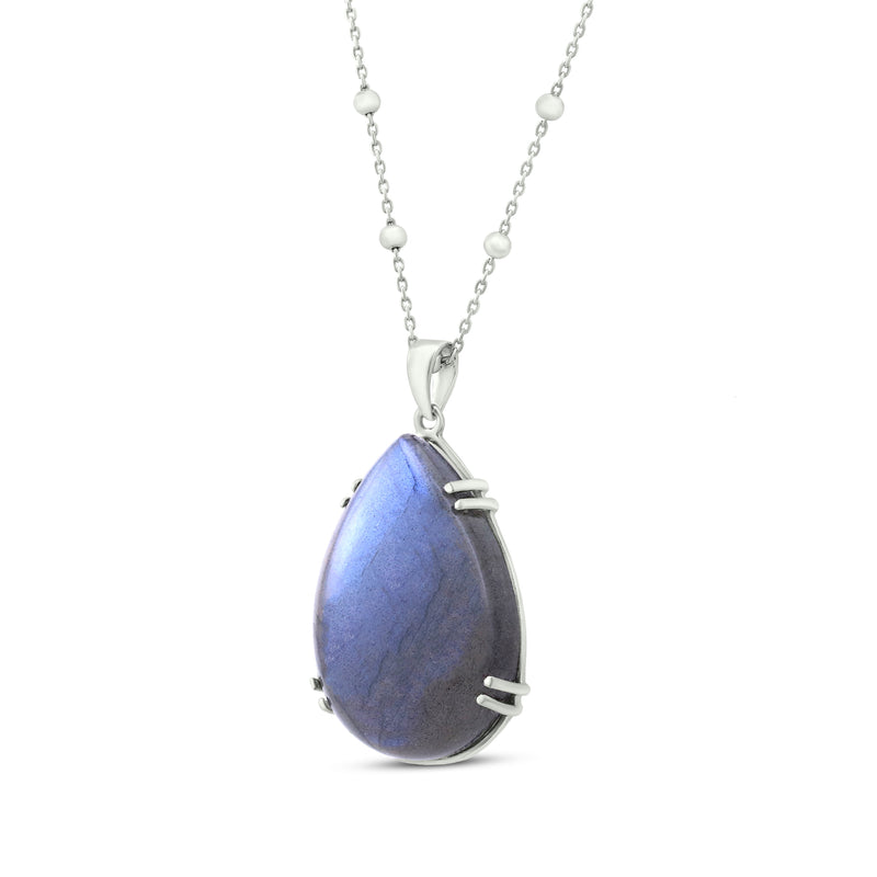 Sterling Silver Pendant Necklace With Labradorite