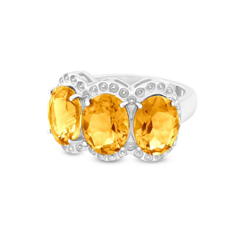 Ring In 925 Sterling Silver With Citrine
