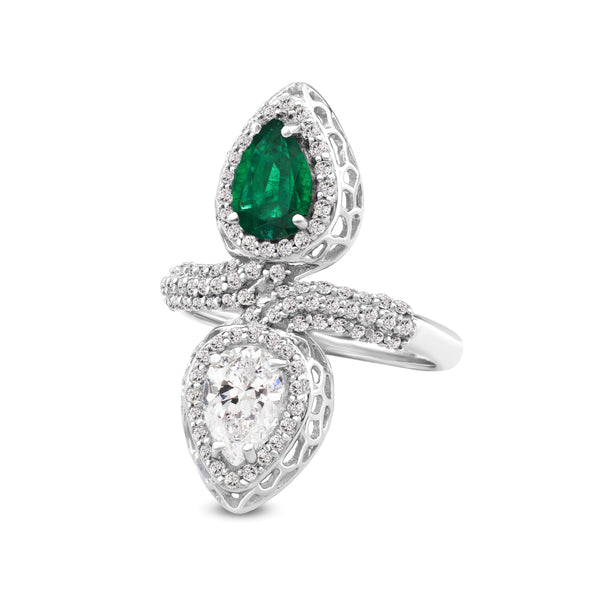 Ring in 925 Sterling Silver With Crystal, Green Onyx and White Topaz