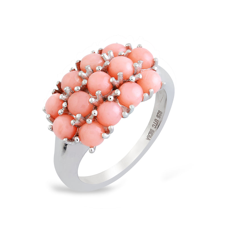 Angel Skin Coral Three-Row Band Ring, Sterling Silver