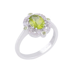 Arizona Peridot and White Zircon Framed Ring, Sterling Silver