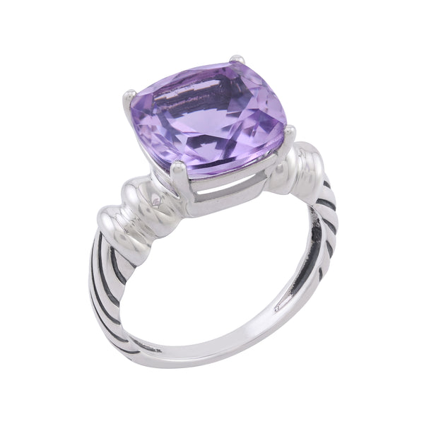 Cushion Cut Amethyst Ring, Sterling Silver