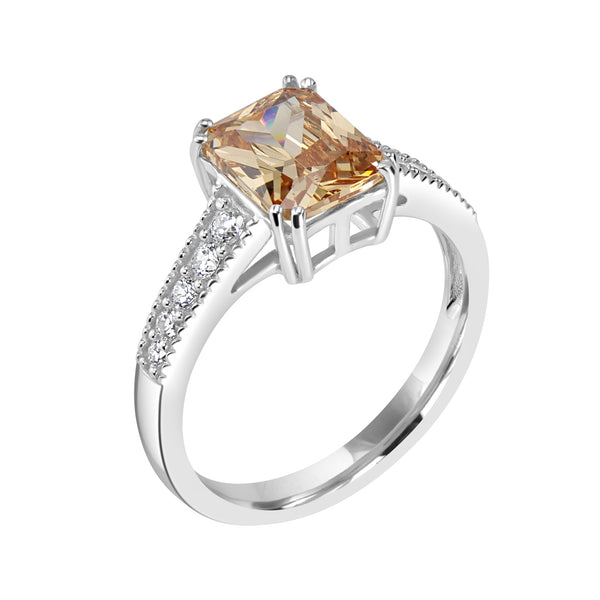 Ring In 925 Sterling Silver With Champagne And White CZ