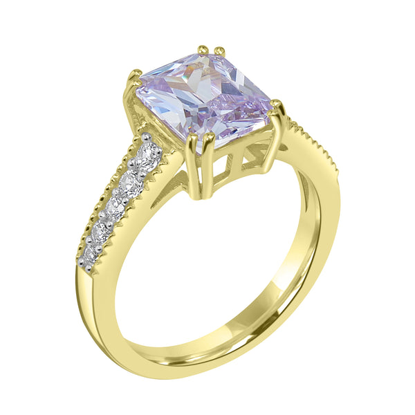 Ring In 925 Sterling Silver With Lavender And White CZ