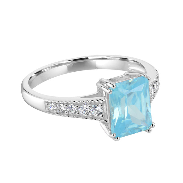Ring In 925 Sterling Silver With Aqua And White CZ