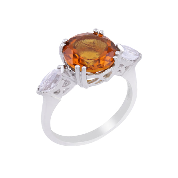 Round Madeira Citrine and Marquise White Topaz Ring, Sterling Silver