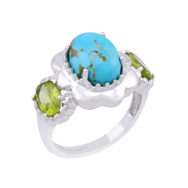 Kingman Turquoise and Arizona Peridot Floral Framed Ring, Sterling Silver
