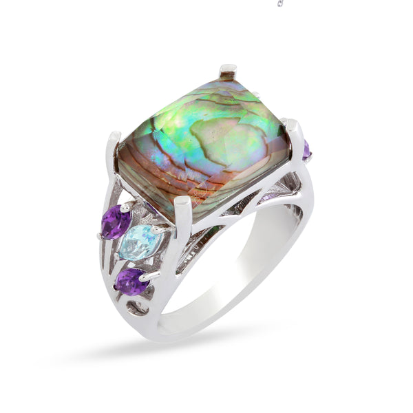 Faceted Abalone Doublet, Amethyst and Blue Topaz Ring, Sterling Silver