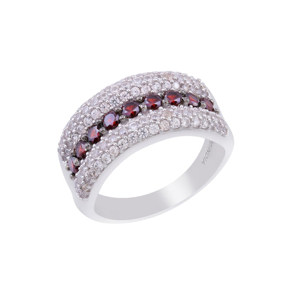 Pyrope Garnet and White Zircon Wide Band Ring, Sterling Silver