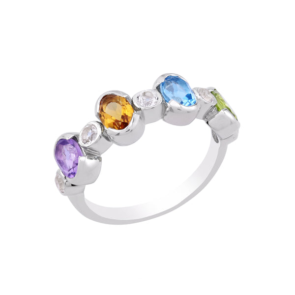 Rainbow Oval Gemstone Band Ring, Sterling Silver