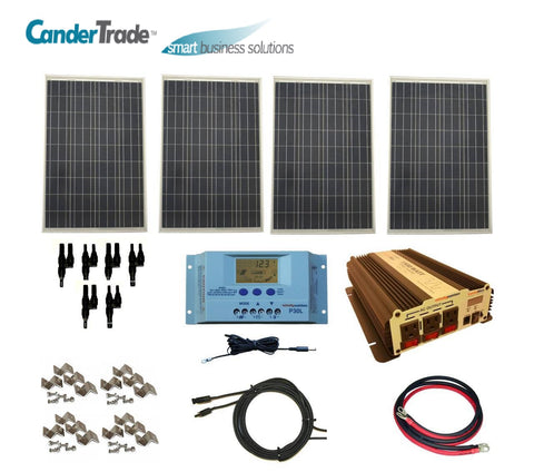400 Watt Polycrystalline Solar Panel Complete Kit with 1500 Watt Power Inverter