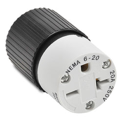 NEMA 6-20 CONNECTOR - 20A 250VAC 2-POLE 3-WIRE
