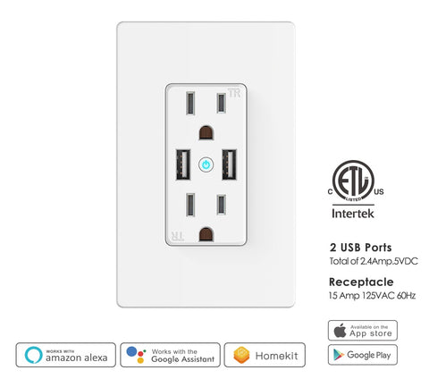 Smart WIFI - USB Outlet High Speed Dual USB Charger and Duplex Receptacle 15-Amp, Tamper Resistant