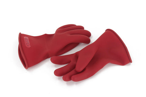 Red Electrical Gloves, Rubber, 0 Class
