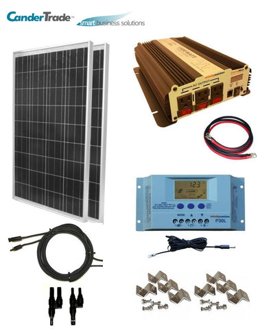 COMPLETE KIT 200 Watt Solar Panel + 1500W Inverter 12V RV Boat Off Grid