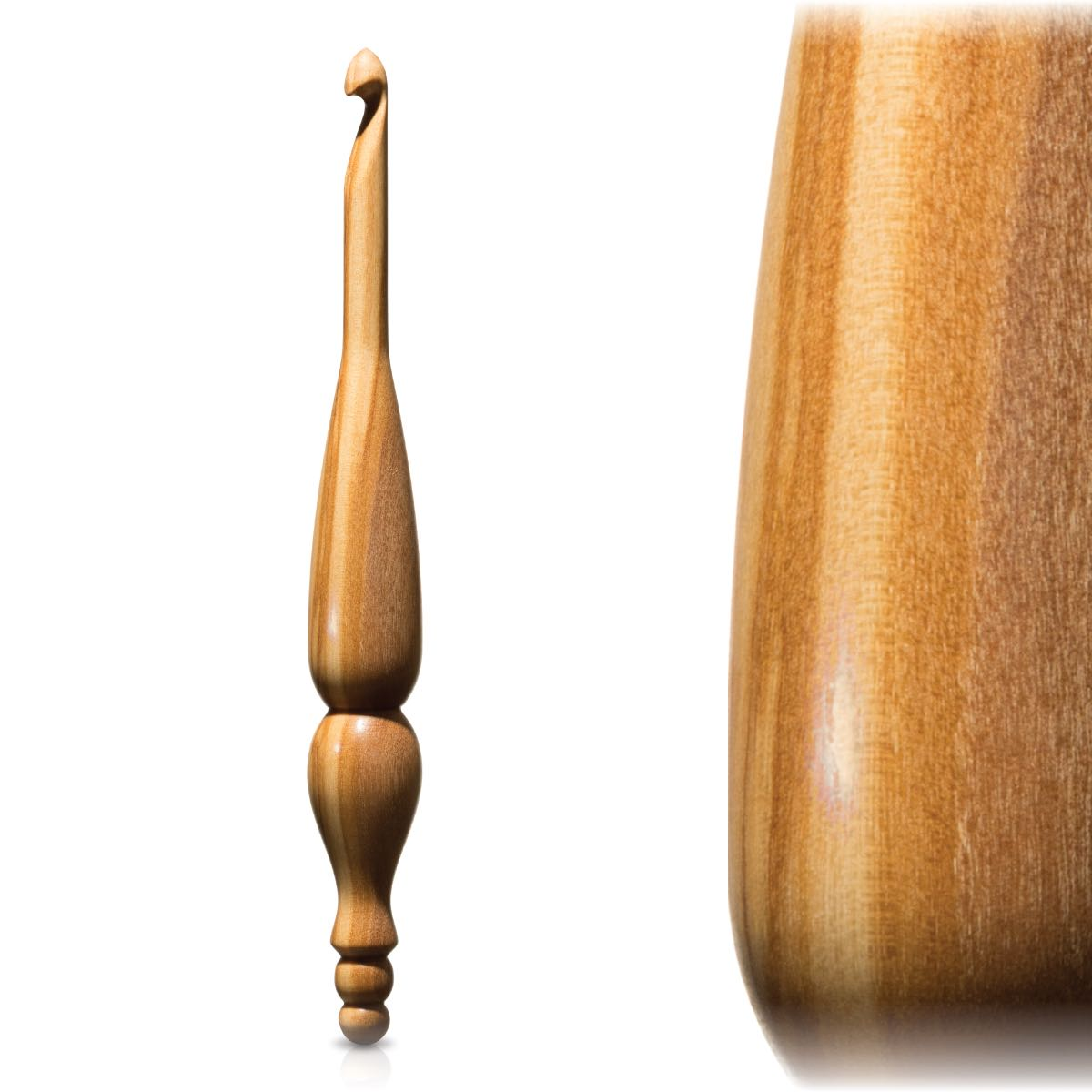 Handmade crochet hook in bright Olivewood