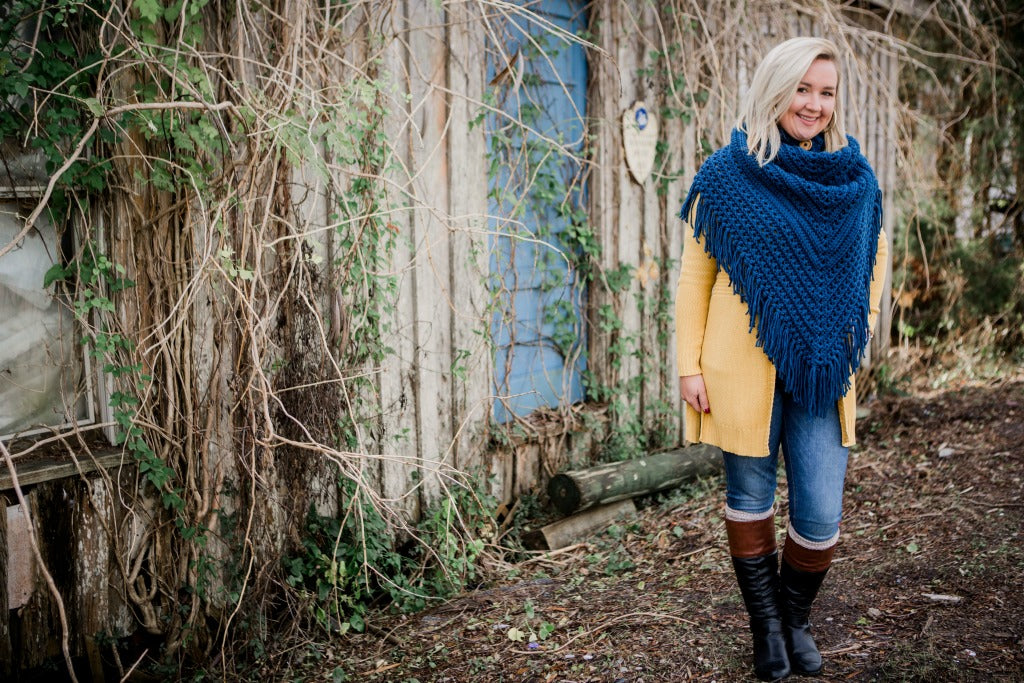 Free Crochet Triangle Scarf Pattern- Huckleberry Scarf- January CAL