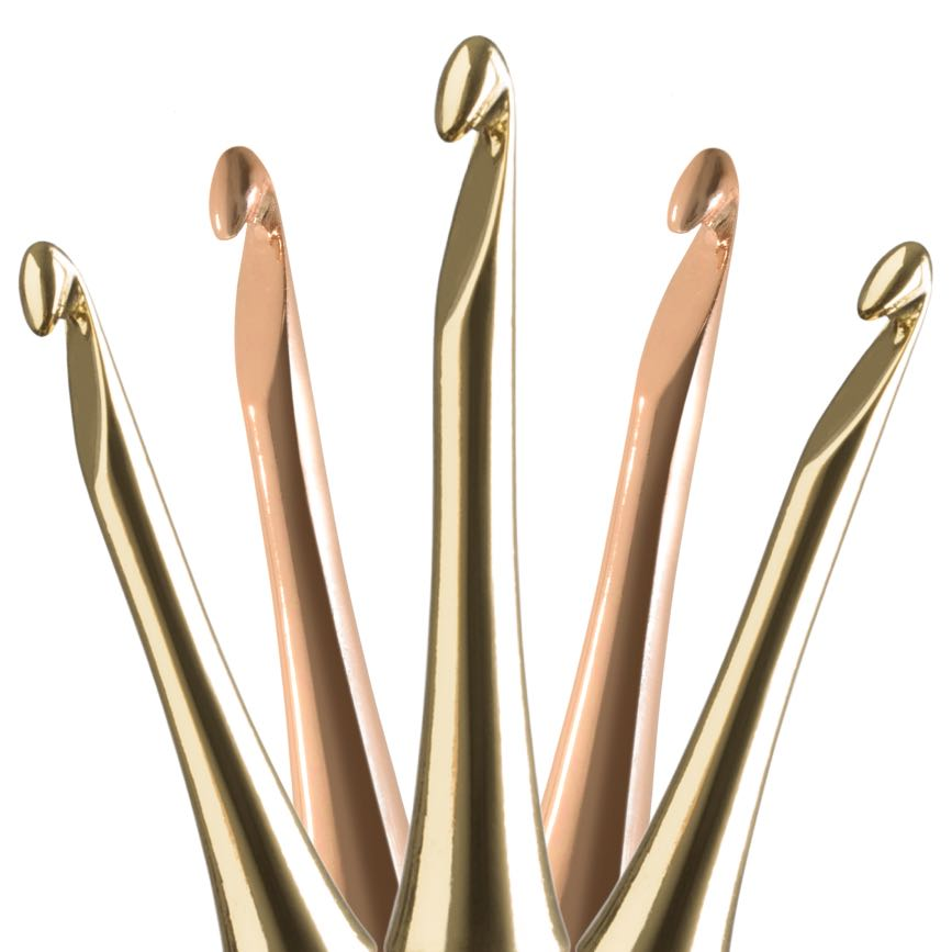 gold and rose gold odyssey crochet hook tips from furls