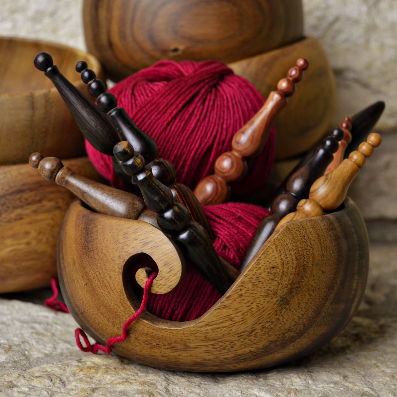 Furls wooden yarn bowl for knitters and crocheters