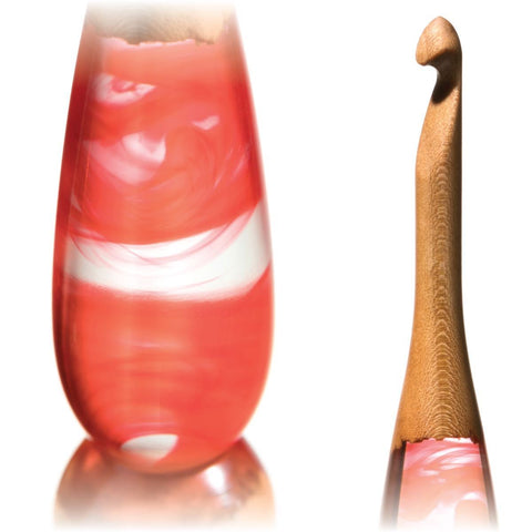Limited Edition Acrylic + Wood Crochet Hooks (Red Cherry) FurlsCrochet E - 3.5mm