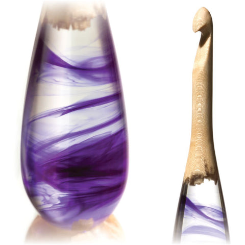 Limited Edition Acrylic + Wood Crochet Hooks (Purple Birdseye) FurlsCrochet E - 3.5mm