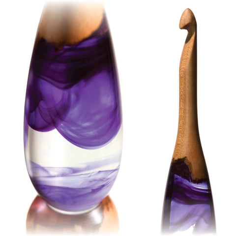 Limited Edition Acrylic + Wood Crochet Hooks (Purple Cherry) FurlsCrochet E - 3.5mm
