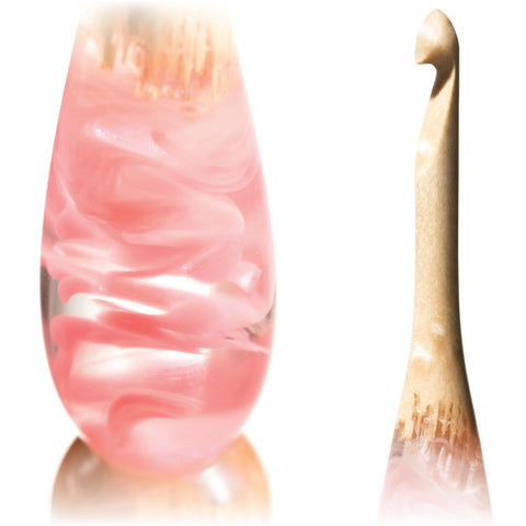 Limited Edition Acrylic + Wood Crochet Hooks (Pink Birdseye) FurlsCrochet E - 3.5mm