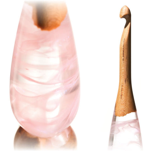Limited Edition Acrylic + Wood Crochet Hooks (Pink Cherry) FurlsCrochet E - 3.5mm