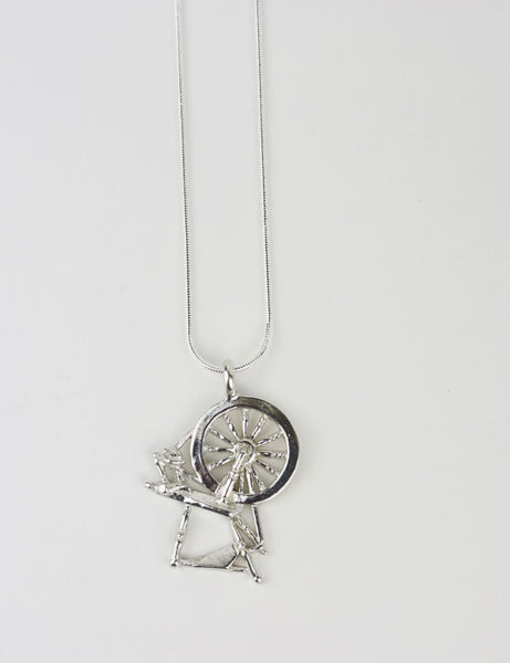 Silver Alloy Spinning Wheel Pendant Jewelry Furls