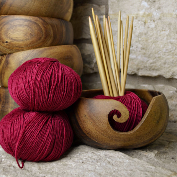 Handmade Wooden Yarn Bowls from Furls for Knitting & Crochet