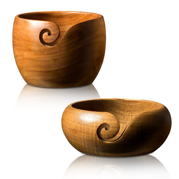 Handmade Teak Wood Yarn Bowls from Furls for Knitting & Crochet