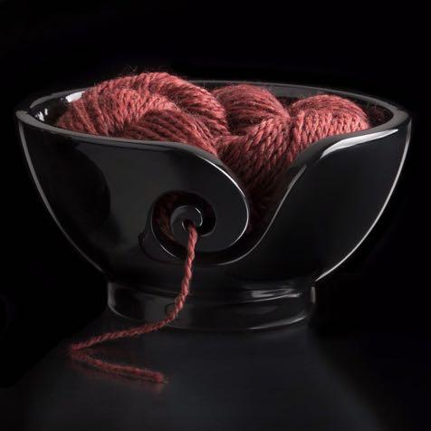 Diamond Rosewood Yarn Bowl for Knitters and Crocheters