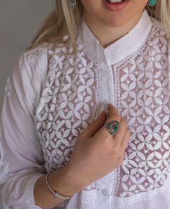 Motif Embroidered White Shirt