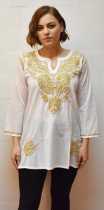 Gold Floral Embroidered Top