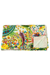 Beige Crazy Paisley Kantha Throw - King