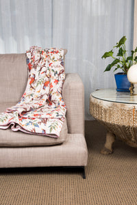 White Birds of Paradise Kantha Throw - King