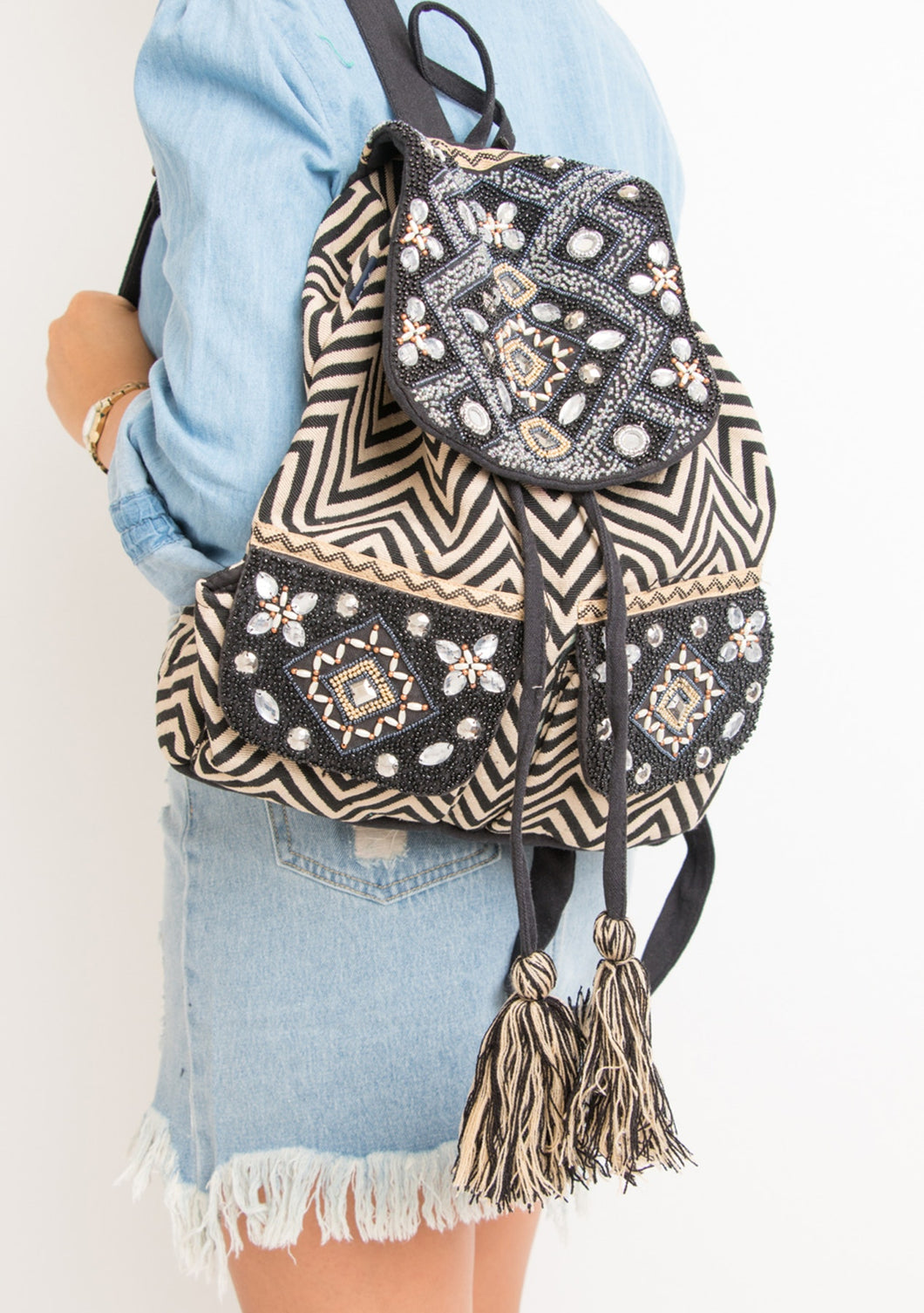 Black and Gold Embroidered Backpack