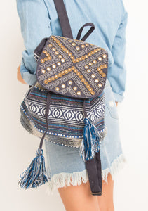 Blue Coin Embellished Backpack