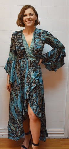 Crazy Paisley Blue Wrap Around Dress Marigold Lane New Zealand