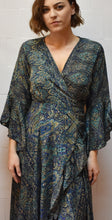 Load image into Gallery viewer, Glenmore Green Wrap around Silk Dress